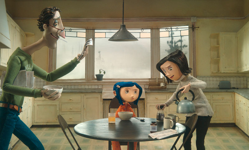 Coraline tries to get the attention of her harried parents