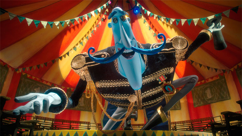 In the Other World, Mr. Bobinsky heralds a surprise circus attraction