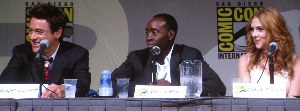 SDCC 09: Robert Downey Jr., Don Cheadle and Scarlett Johansson during the Iron Man 2 panel