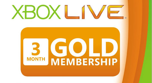 3-Month Xbox 360 Live Subscription Gold Card