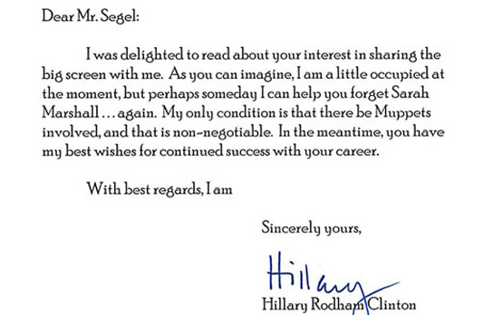 Jason Segel's Rejection Letter From Hillary Clinton