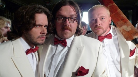 Edgar Wright with Nick Frost and Simon Pegg