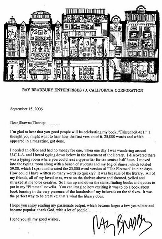 Ray Bradbury letter about The Fireman