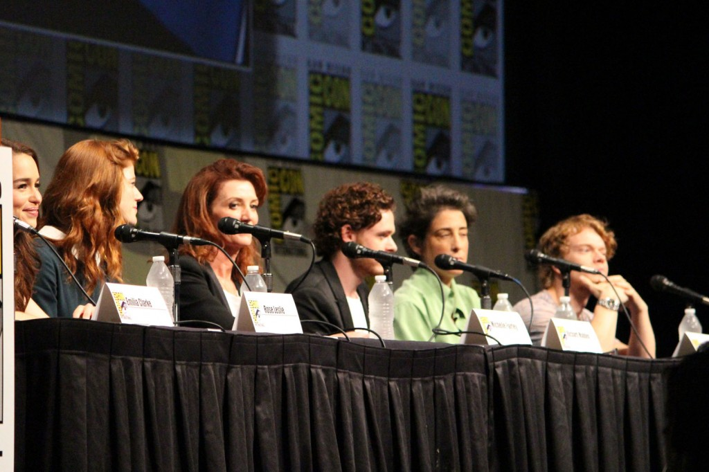 SDCC 2012: HBOs Game of Thrones panel: Rose Leslie, Michelle Fairley, Richard Madden, producer Carolyn Strauss, Alfie Allen