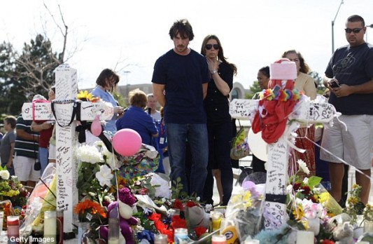 Christian Bale and wife Sibi Blazic at Aurora memorial