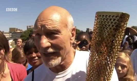 Star Trek's Patrick Stewart Carries The Olympic Torch