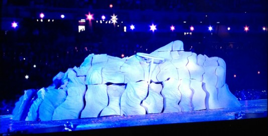 John Lennon Sculpture Erected During Imagine Tribute At The Olympics Closing Ceremony