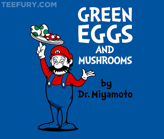  Super Mario/Dr. Seuss Green Eggs and Mushrooms Shirt