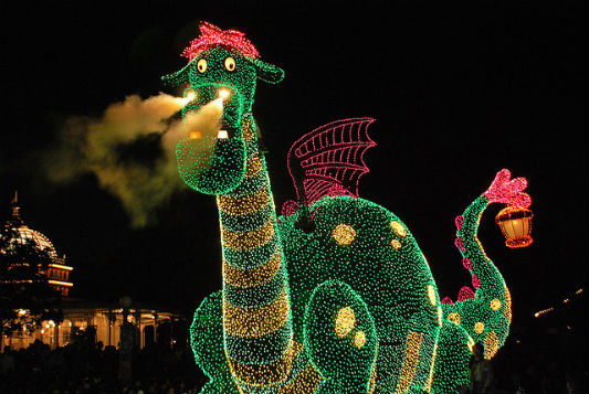 Pete sparkles with thousands of colorful lights in the Disney Electrical Parade