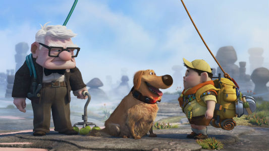 Carl and Russell meet Dug, a talking dog