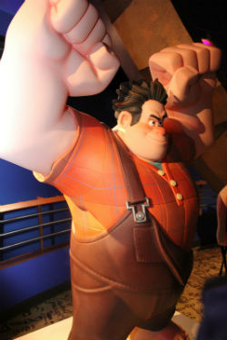 "Ralph boasts ""freakishly big"" hands, as evidenced in this Disney Quest figure."