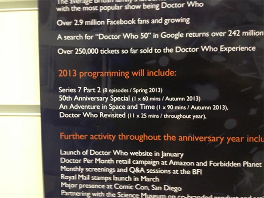 BBC Doctor Who banner at the London Toy Fair