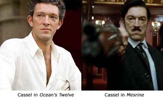 A comparison: Vincent Cassel in Ocean's Twelve and Vincent Cassel in Mesrine