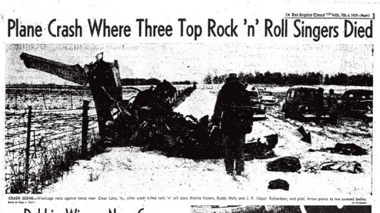 LA Times Clipping of Buddy Holly Plane Crash