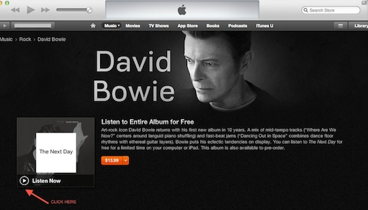 David Bowie iTunes streaming click here