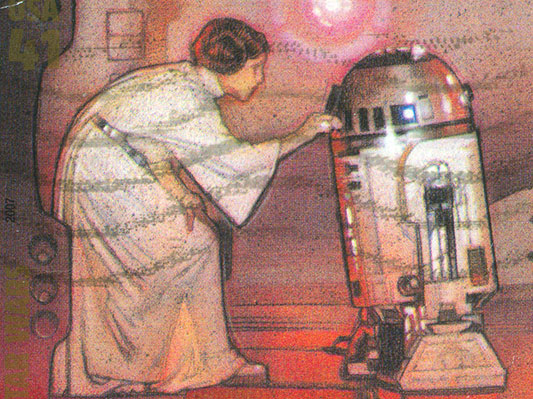 Princess Leia and R2-D2 Star Wars stamp