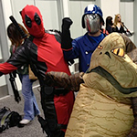 Deadpool, Cobra Commander, and Jabba the Hutt cosplay