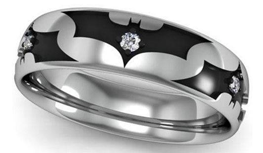 14k white gold handmade batman wedding ring - Star Trek Wedding Ring