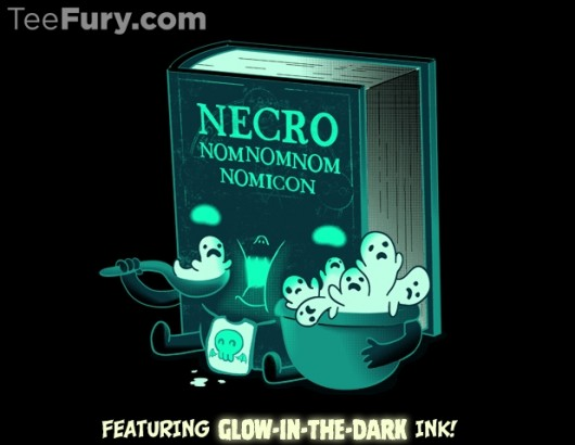 Glow in the dark Necronomnomnomicon shirt