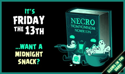 Glow in the dark Necronomnomnomicon shirt for Friday the 13th