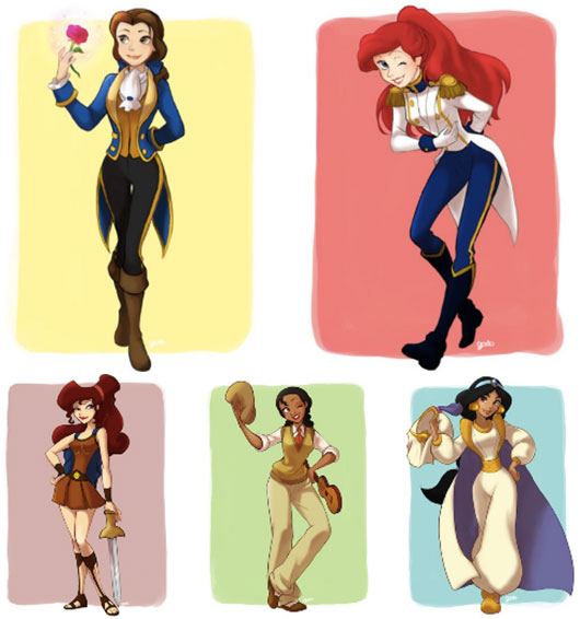The Disney Princesses In Their Princes' Clothing