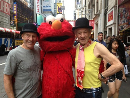 Patrick Stewart and Ian McKellen At Times Square With Elmo