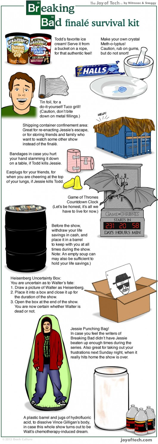 Breaking Bad Series Finale Survival Kit infographic
