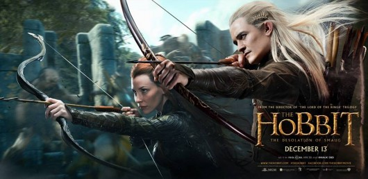 The Hobbit The Desolation Of Smaug Legolas and Tauriel banner