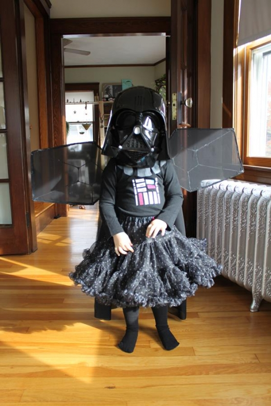 Tiny Princess Darth Vader Halloween Costume front view