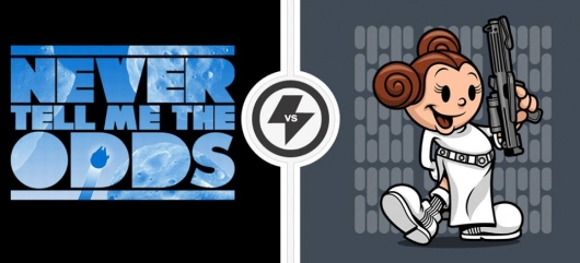Twofury Star Wars Never Tell Me The Odds and Vintage Leia Shirts