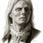 Tom Cruise as Lestat in Interview with the Vampire concept art by Miles Teves (swamped phase)
