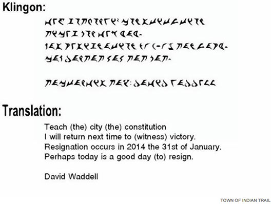 North Carolina Councilman David Waddell resignation letter in Klingon