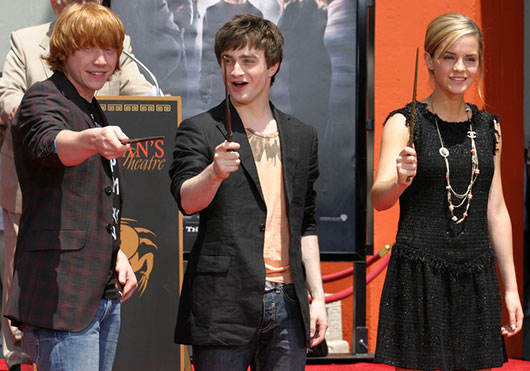 Harry Potter stars Rupert Grint, Daniel Radcliffe, and Emma Watson