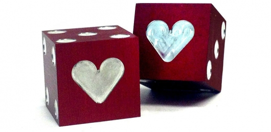 Precision Dice - Aluminum Heart Red