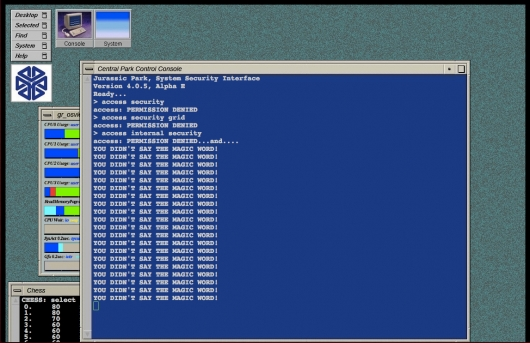 Jurassic Systems hacking screen