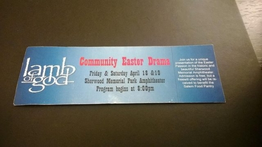 Lamb Of God logo on Easter Drama ticket