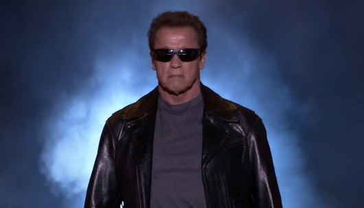 Arnold Schwarzenegger As The Terminator On The Tonight Show starring Jimmy Fallon Live Post-Super Bowl Show (2015)