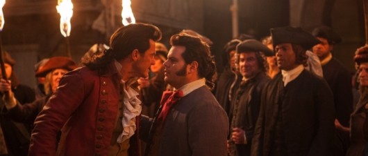 Gaston (Luke Evans) and LeFou (Josh Gad) in Beauty and the Beast