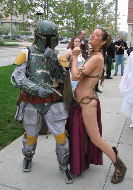 Boba Fett has Slave Leia on a short leash