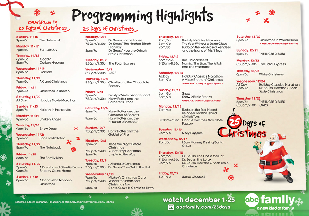 abc family 25 days of christmas 2008 schedule