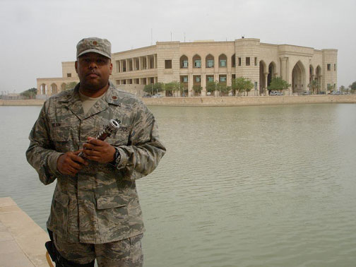 Frank Wilson outside Al Faw Palace in Iraq with his Light Saber