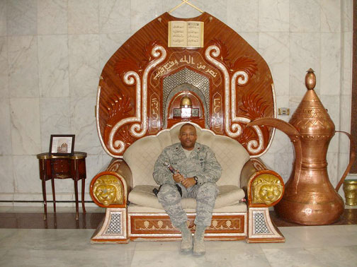 Frank Wilson inside Al Faw Palace in Iraq with his Light Saber
