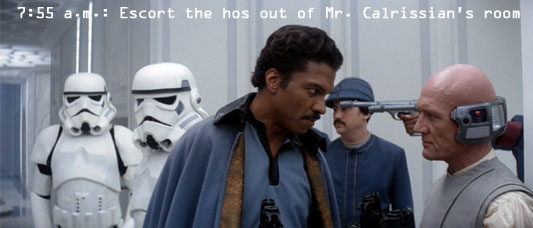Lando Calrissian and Lobot subdue Stormtroopers