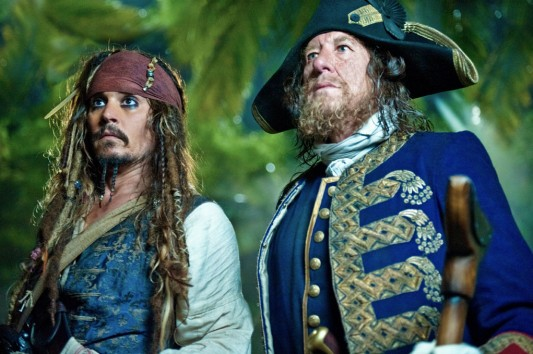 Johnny Depp as Jack Sparrow & Geoffrey Rush as Captain Barbossa