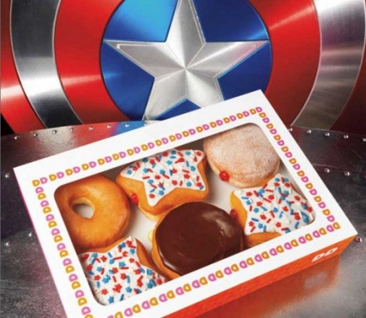 Captain America star-shaped donuts - Dunkin Donuts