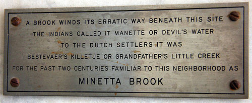 Minetta Brook plaque