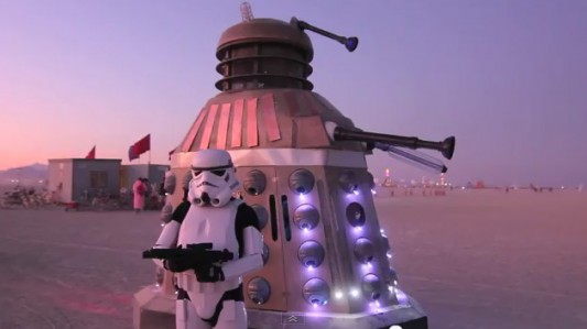 Dalek Art Car with stormtrooper at Burning Man
