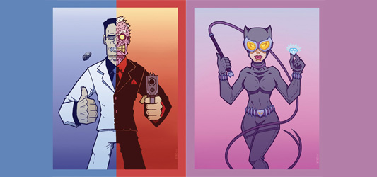 Catwoman and Two-Face by Xero