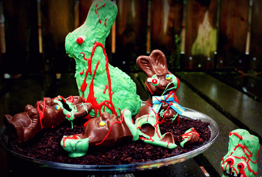DIY Chocolate Zombie Bunnies For Easter