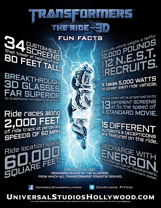 Transformers The Ride - Fun Facts